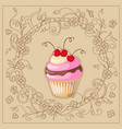 cupcake with cherry on the boho background vector image