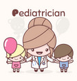 cute chibi kawaii characters alphabet professions vector image vector image