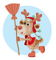 cute deer with red nose holds a broom in his hands vector image vector image