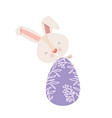 easter rabbit with egg isolated icon vector image