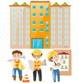 engineer and foreman working on building site vector image vector image