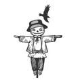 farm rural scarecrow engraving vector image