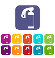 fire extinguisher icons set flat vector image vector image