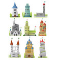 flat set large fairy tale castles vector image