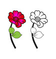 flower with pink and black and white for coloring vector image vector image