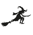 Halloween witch Silhouette Isolated vector image vector image