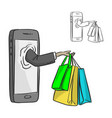 hand of businessman with shopping bags at vector image vector image