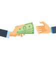 hands hold money financial bills financial vector image