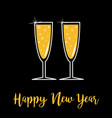 happy new year champagne line glasses with vector image