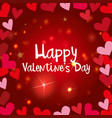 happy valentine card template with shiny hearts vector image