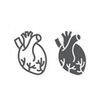 human heart line and glyph icon anatomy vector image