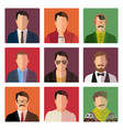 male avatar icons in casual style vector image vector image