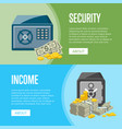 metallic safe box with money posters vector image