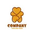 modern toy bear and heart logo vector image vector image