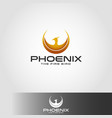 phoenix logo with circle wings concept vector image