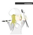 Profession set chef female cartoon vector image