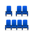realistic detailed 3d blue cinema chairs set vector image vector image