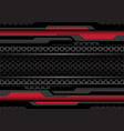 red dark grey polygon cyber on circle mesh vector image vector image