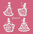 romantic princess in lacy wedding dresses with vector image