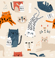 seamless childish pattern with cute cats in vector image vector image