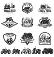 Set of tractor emblems design element for label vector image
