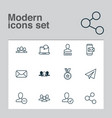 social icons set collection of society phone vector image vector image