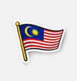 sticker flag malaysia vector image