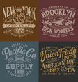 vintage workwear graphics set vector image vector image