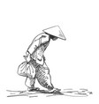 weak hunched old woman in vietnamese hat walking vector image vector image