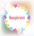 White frame with hearts on blurred background vector image vector image