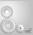 white gears on the grey background vector image vector image