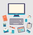 workplace icons and object trendy flat minimal vector image vector image