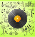 Black vinyl record and hand draw misic icon vector image