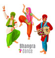 bhangra dance concept men and woman in national vector image