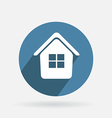 Circle blue icon with shadow home vector image