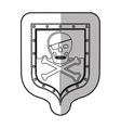Skull on shield vector image