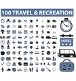 100 travel recreation signs vector image vector image