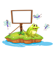 A frog and flies in an island vector image vector image