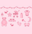 baby shower greeting with pink color with various vector image