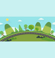 beautiful nature landscape with road vector image vector image