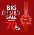 big christmas sale 70 percent off price banner vector image vector image