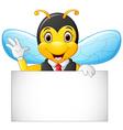cartoon bee hold blank sign vector image vector image