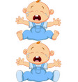 cartoon crying baby twins isolated vector image