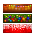 Christmas banners with lights and snowflakes vector image vector image