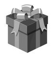 Christmas box with bow icon gray monochrome style vector image vector image