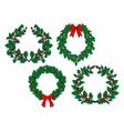 Christmas holly garlands set vector image vector image