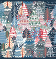 christmas pattern with nordic style xmas trees vector image