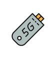 fast 5g internet modem flat color line icon vector image vector image