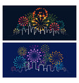 fireworks city skyline vector image