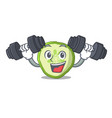 fitness fresh slice cucumber on character cartoon vector image